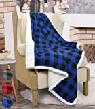 "Catalonia Plaid Sherpa Throw Blanket Reversible Soft Warm Snuggle Micro Fleece Plush Throws for Bedding Couch TV 60"" x 50""Blue"