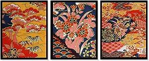 Asian Inspired Art Navy Blue- Orange-Gold (Set of Three) 8x10 Prints Unframed Chinese Art Japanese Wall Decor Bedroom Wall Art- Bathroom Decor- Living Room