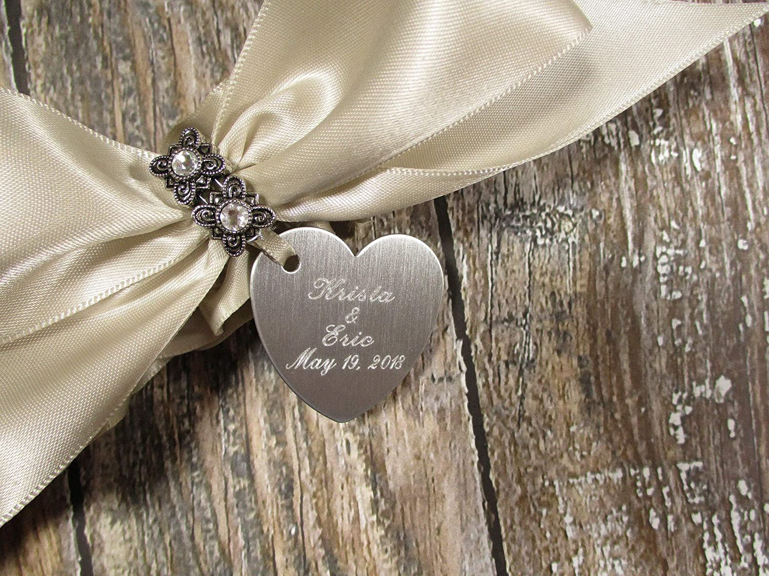 Champagne Wedding Garter Set with Crystals and Personalized Engraving