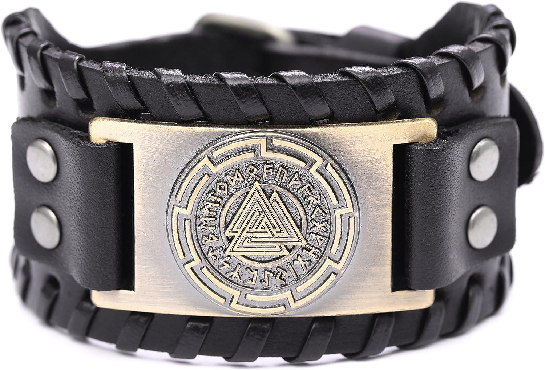 Viking Vegvisir Bracelet Leather Norse Compass Amulet Nordic Bangle Copper Black