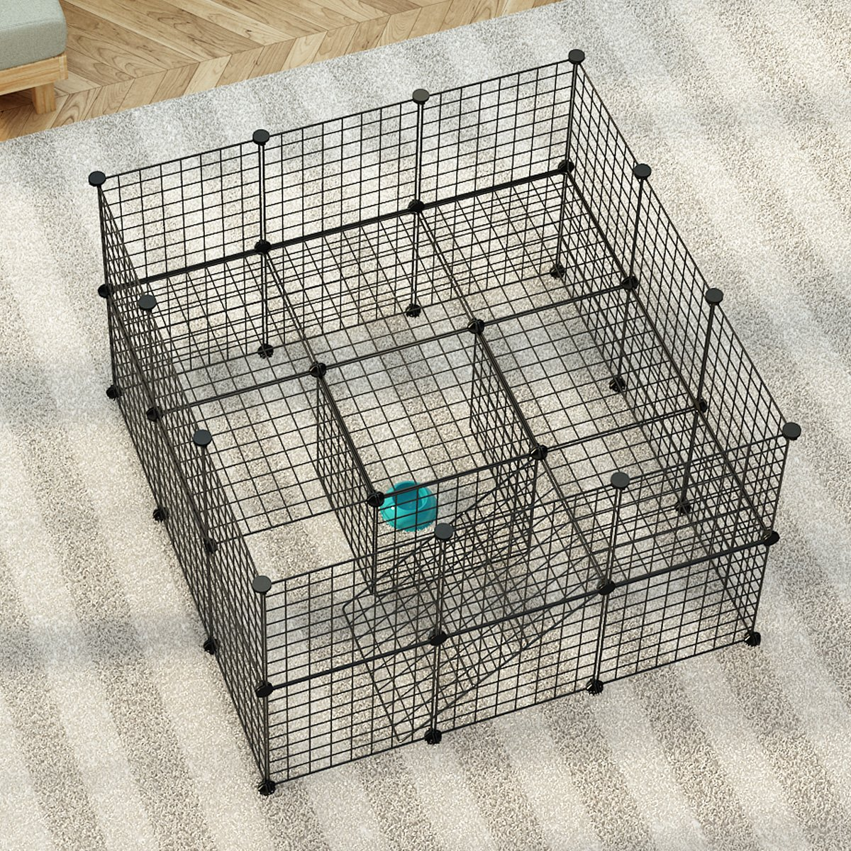 JYYG Small Pet Pen Bunny Cage Dogs Playpen Indoor Out Door Animal Fence Puppy Guinea Pigs, Dwarf Rabbits PET-F (36 Panels, Black) by JYYG (Image #3)