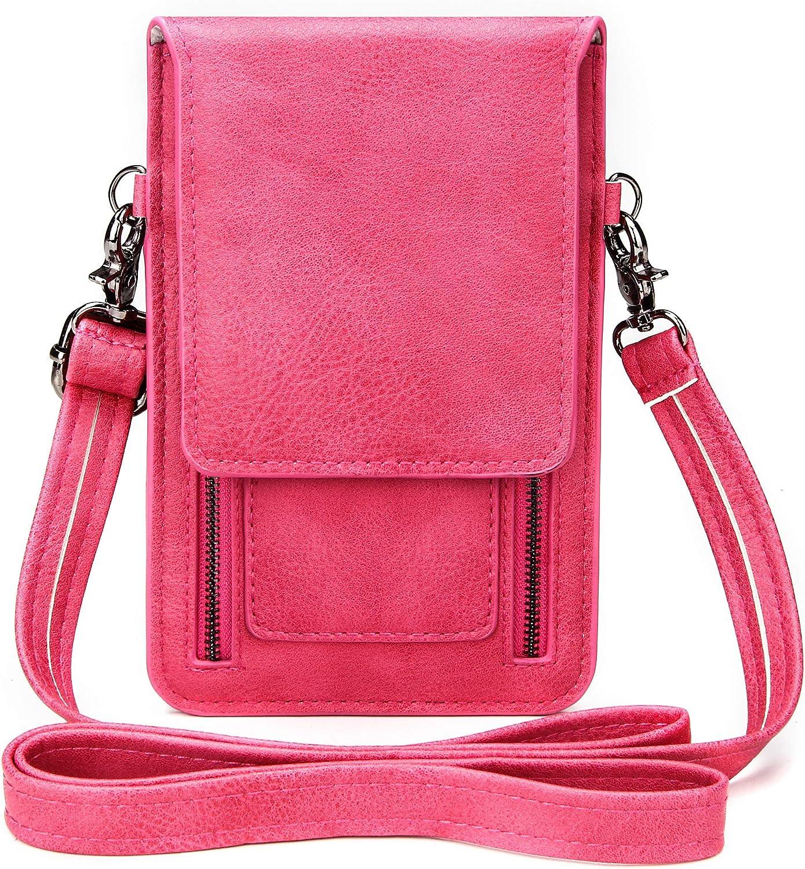 Badiya Luxury Genuine Leather Cell Phone Pouch Mini Crossbody Single Shoulder Bag