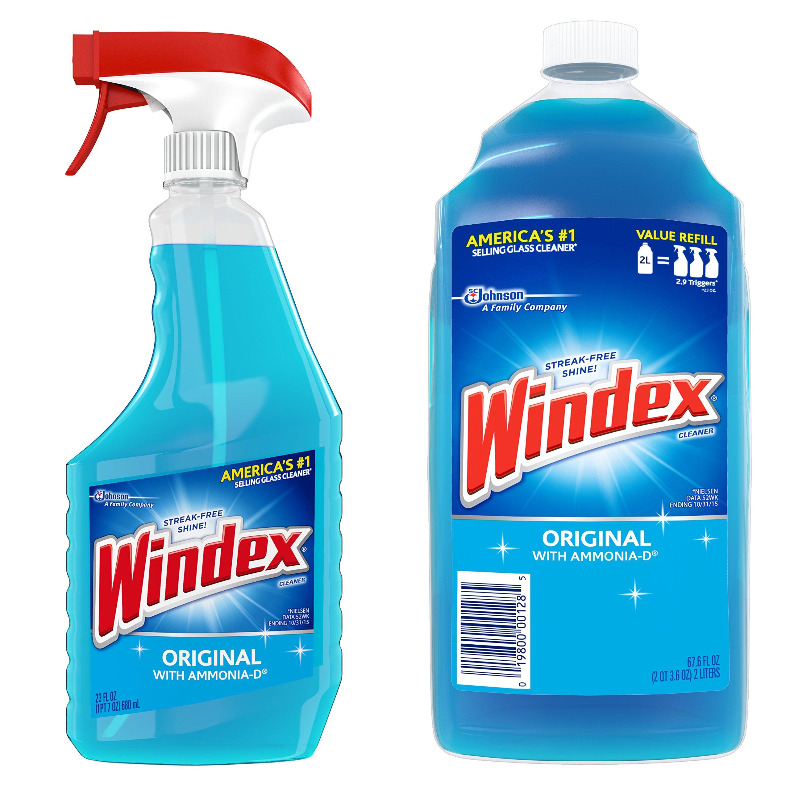 Windex Original Glass Cleaner Pack, Refill 67.6 fl oz + Trigger 23 fl oz