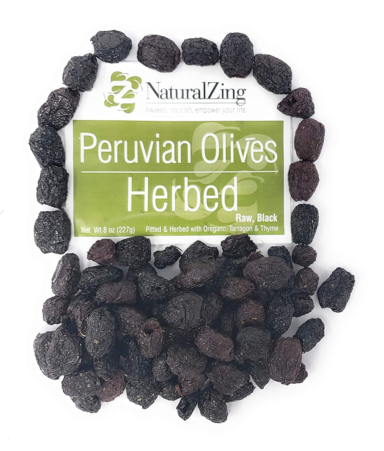 Peruvian Black Dried Olives, Herbed, Pitted (Raw, Organic) 8 oz