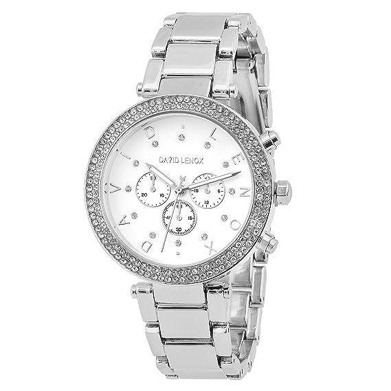 David Lenox plata tono de la mujer reloj Michael Kors estilo DL0132