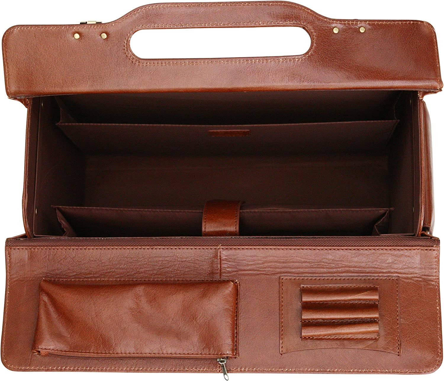 Cognac Twin Combination Locks S Babila Top Grain Leather Pilot Case Briefcase