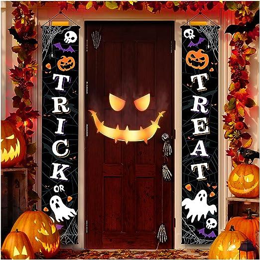 Amazon.com: Joyousa Outdoor Halloween Decorations Decor - Front Door Trick or Treat Banner Hanging Halloween Porch Decorations Outdoor Signs for Home Welcome Signs: Garden & Outdoor