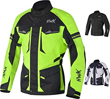 Motorcycle Jacket For Men Cordura Motorbike Racing Biker Riding Breathable CE Armored Waterproof All-Weather Hi-Vis Green, Small