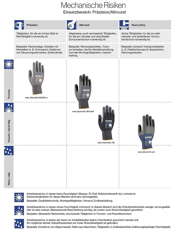 3 Pairs Uvex Phynomic XG 60070 Work Gloves Safety Gloves Installation Gloves Grip Gloves Garden Gloves EN388 Various Models Various Sizes M