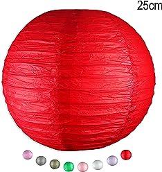 EinsSein 1 x LAMPION Medium rot DM 25cm Hochzeit Wedding Laterne Papierlampion