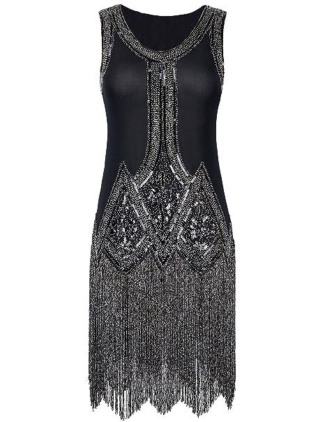 PrettyGuide Mujered 1920s Vintage Perlas Flecos Inspirado Negro Vestido Charleston S