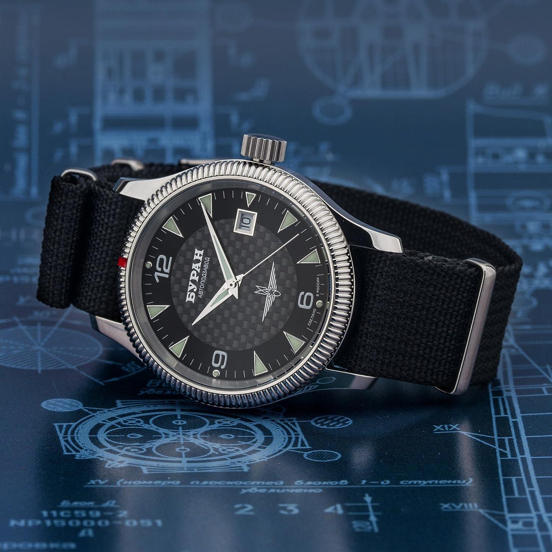 BURAN Automatic Carbon - 2824-6503720 - Fliegeruhr - Natostrap