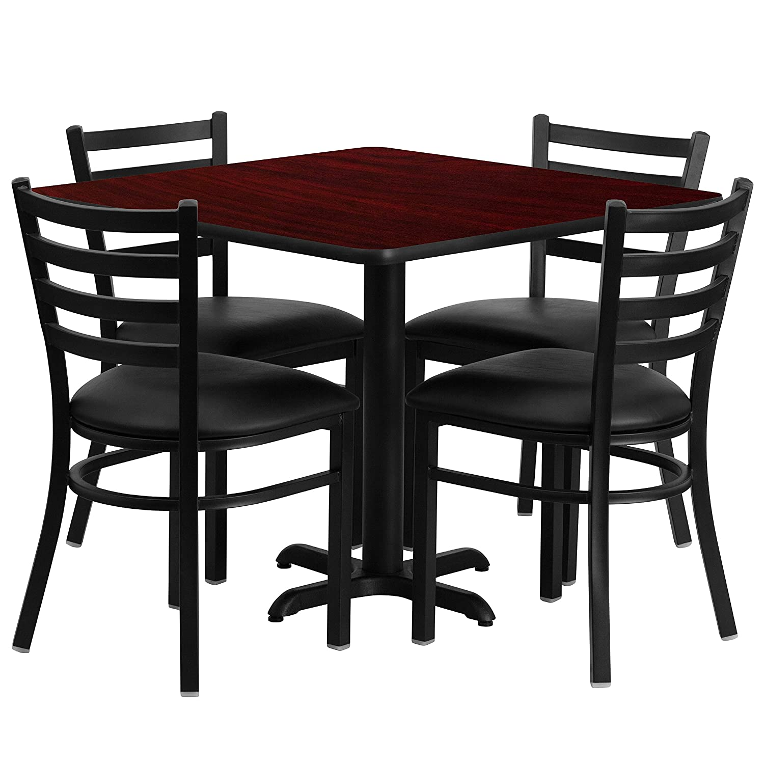 Amazon.com   Flash Furniture 36u0027u0027 Square Black Laminate Table Set With 4 Ladder  Back Metal Chairs   Black Vinyl Seat   Table U0026 Chair Sets