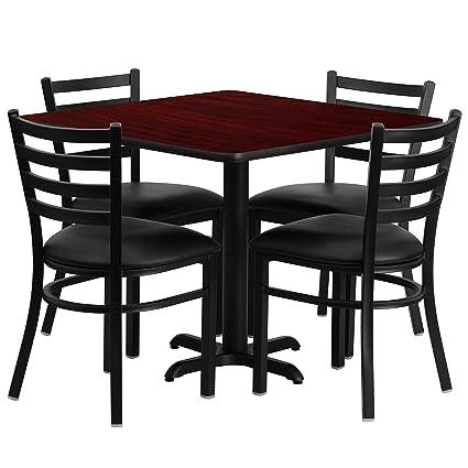 Flash Furniture 36u0027u0027 Square Mahogany Laminate Table Set With 4 Ladder Back  Metal Chairs