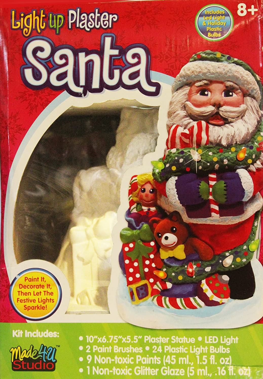 "Christmas Light up Plaster Santa Statue with LED Light 10"" X 6.75"" X 5.5"""