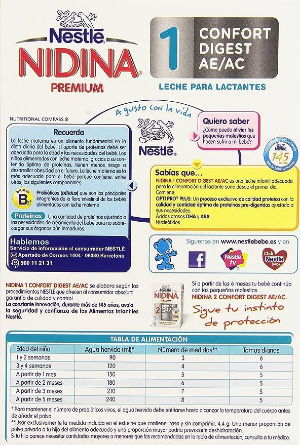 Nestlé Nidina 1 Confort Digest AE/AC Leche para Lactantes, en Polvo - 750 gr