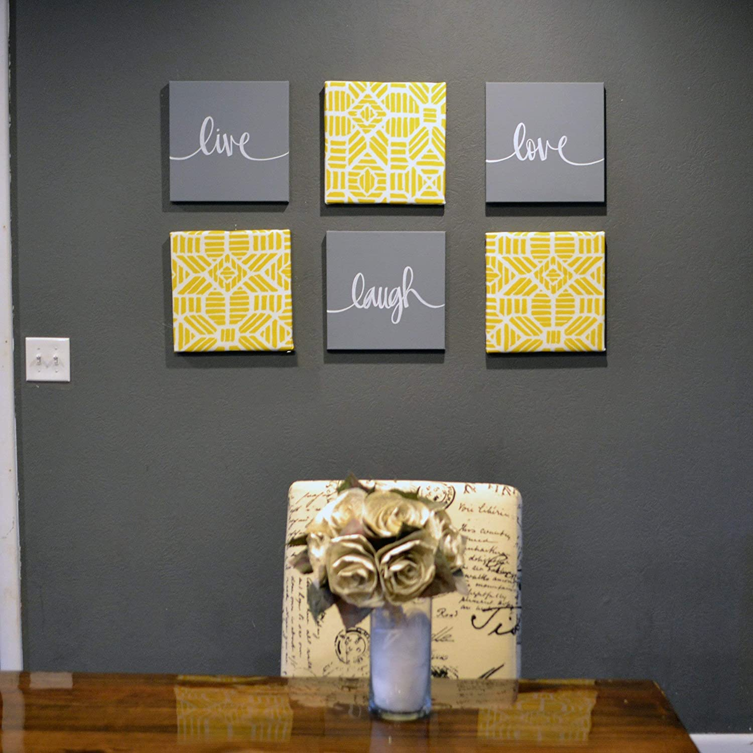 Dining Room Canvas Wall Art Set  Yellow and Gray  Live Laugh Love Signs