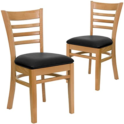Gentil Flash Furniture 2 Pk. HERCULES Series Ladder Back Natural Wood Restaurant  Chair   Black Vinyl