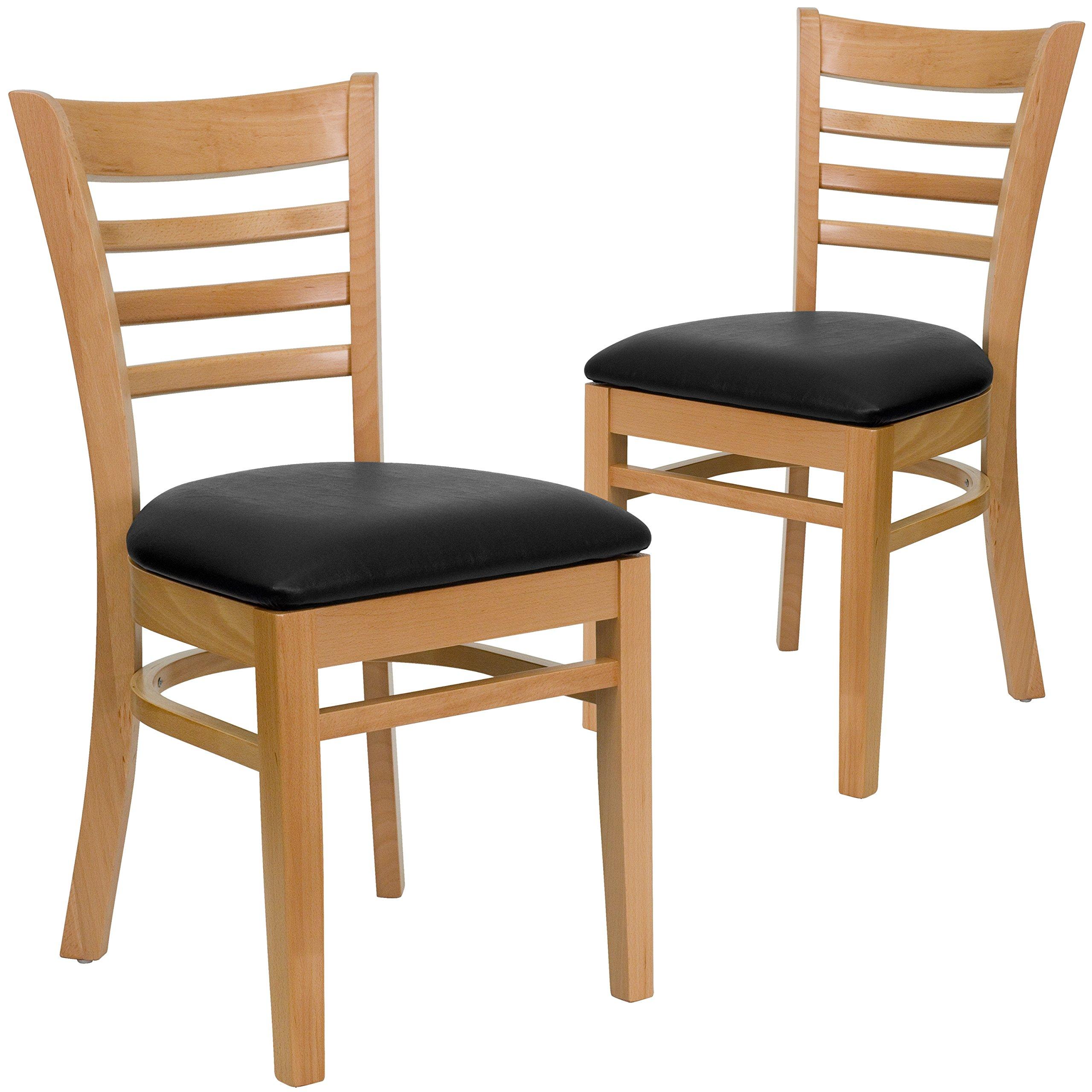 Flash Furniture 2 Pk. HERCULES Series Ladder Back Natural Wood Restaurant Chair - Black Vinyl Seat