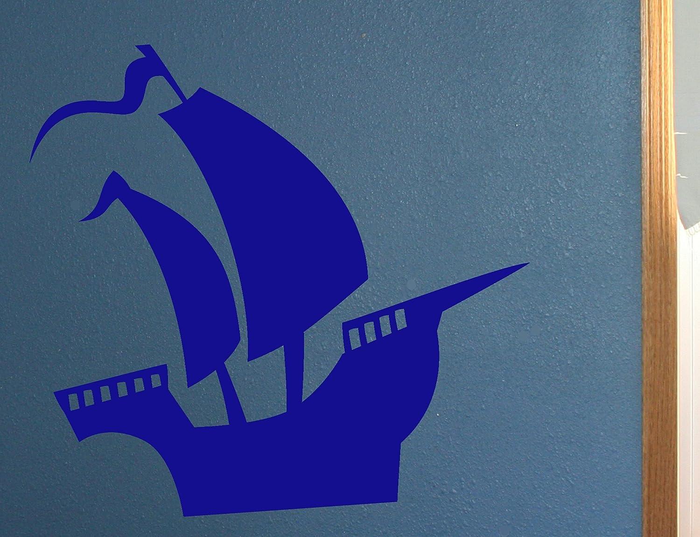 Wall Decor Plus More Ship Nautical Art Wall Vinyl Sticker Decal 23W x 24H Traffic Blue Traffic Blue