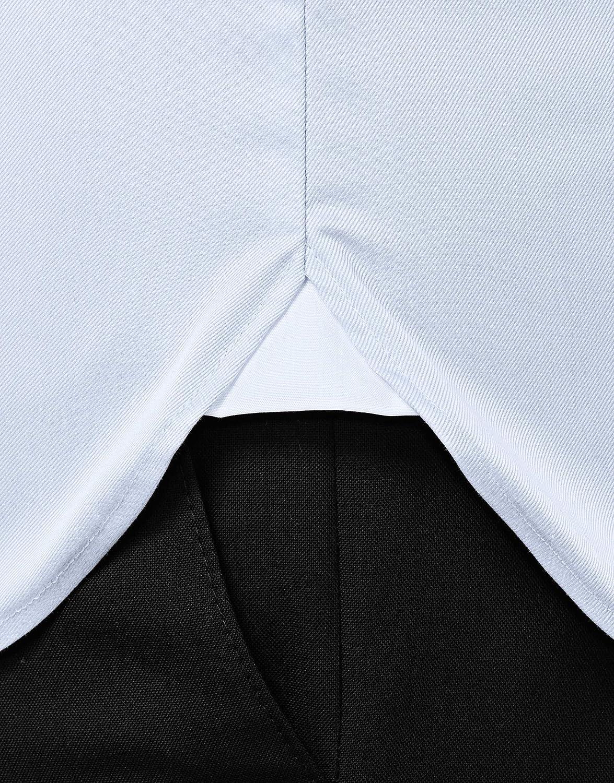 Manga-Larga Vincenzo Boretti Camisa de Hombre 100/% algod/ón pu/ño Reversible Lisa Ajustada Entallada no Necesita Plancha Cuello Kent Slim-fit