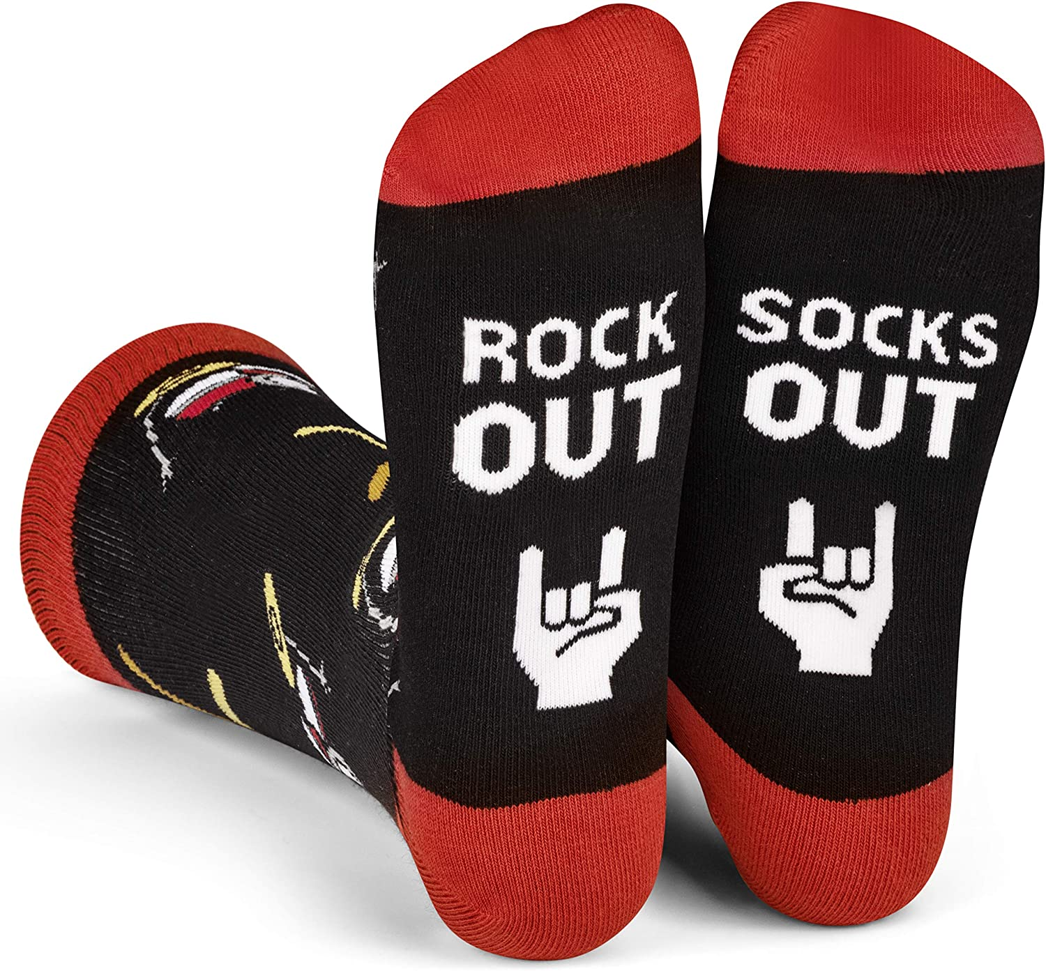 Lavley Rock Out Socks Out Guitar and Drum Socks for Musicians, Guitarists and Drummers