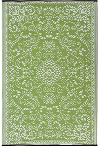 Fab Habitat Murano Recycled Plastic Rug, Lime Green Cream, 6 x 9