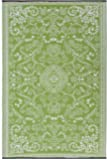Fab Hab Reversible Outdoor/Indoor Rug | Perfect for Decking, Garden, Patio | Mold, Mildew, UV & Stain Resistant | Murano - Lime Green & Cream | 120 cm x 180 cm