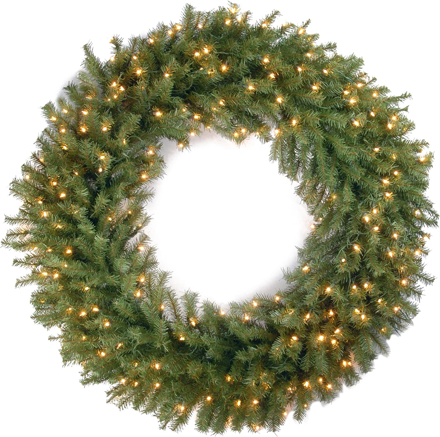 Amazon Com National Tree Company Pre Lit Artificial Christmas Wreath Includes Pre Strung White Lights Norwood Fir 48 Inch Home Kitchen