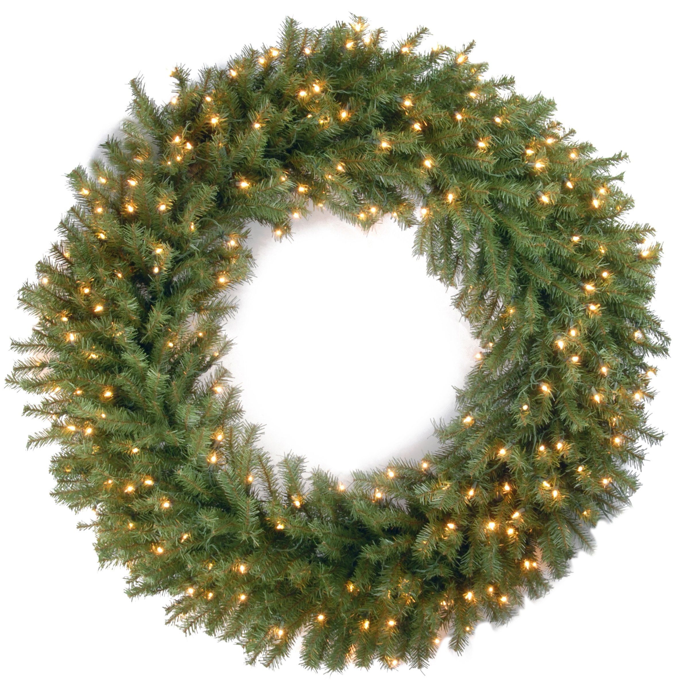 National Tree 48 Inch Norwood Fir Wreath with 200 Clear Lights (NF-48WLO) by National Tree Company