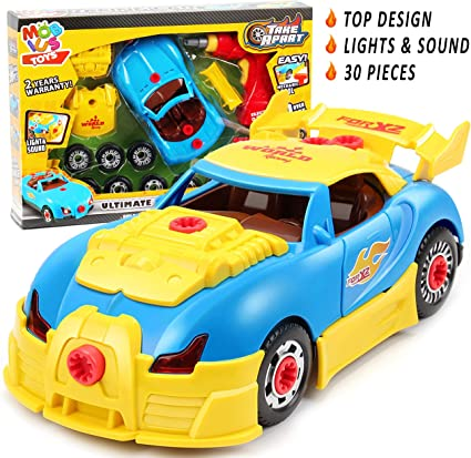 Take Apart Racing Car Toy Construction Set for Boys /& Girls Lights /& Sounds