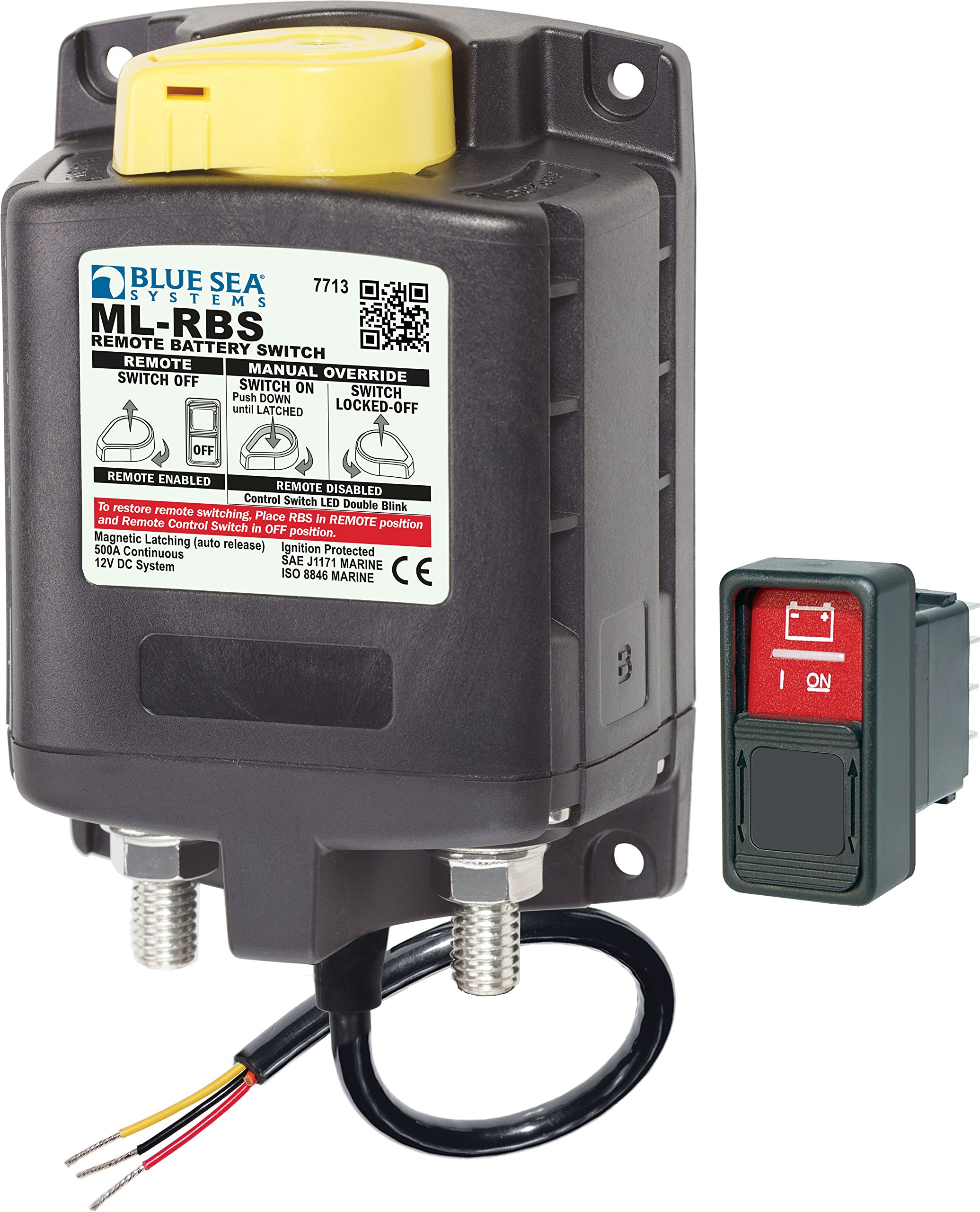 ML-RBS Remote Battery Switch with Manual Control Auto-Release - 12V by Blue Sea Systems (Image #1)