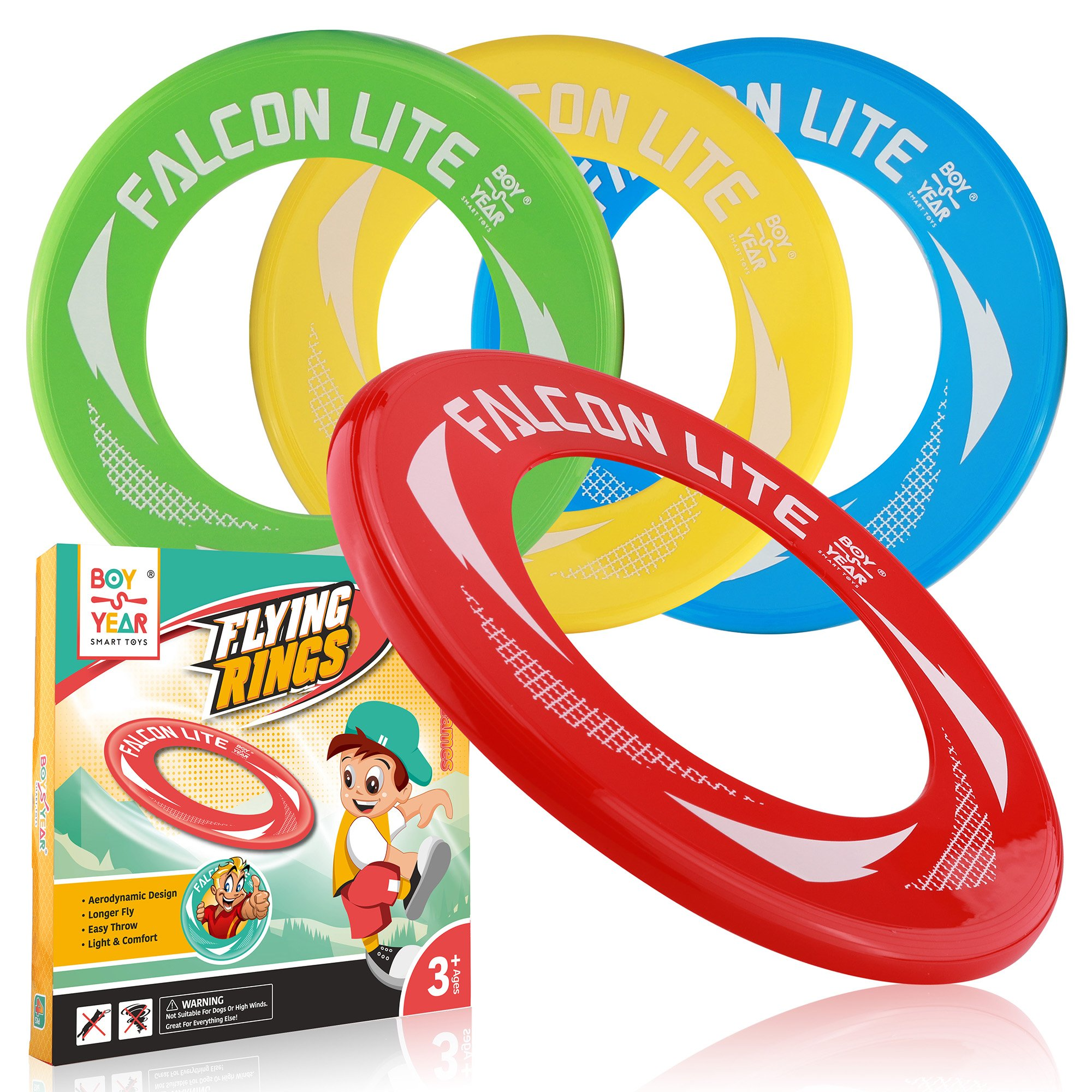 4-Pack Falcon Lite Flying Disc Rings - 2018 Hot Outdoors Game, Beach Games, Water - Summer Toys For Kids - Outdoor Gifts & Best Gift For Teen Boys, Girls & Adults
