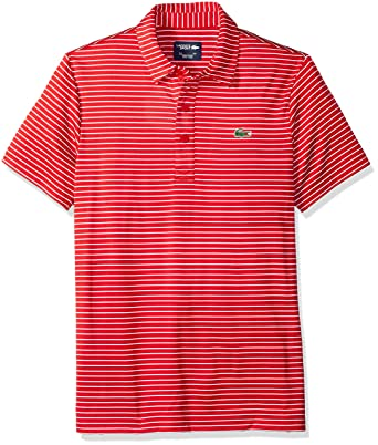 Lacoste Men s Short Sleeve Jersey Raye with Fine Stripes and Button Front  Placket Polo, DH3358 8e36249f4532