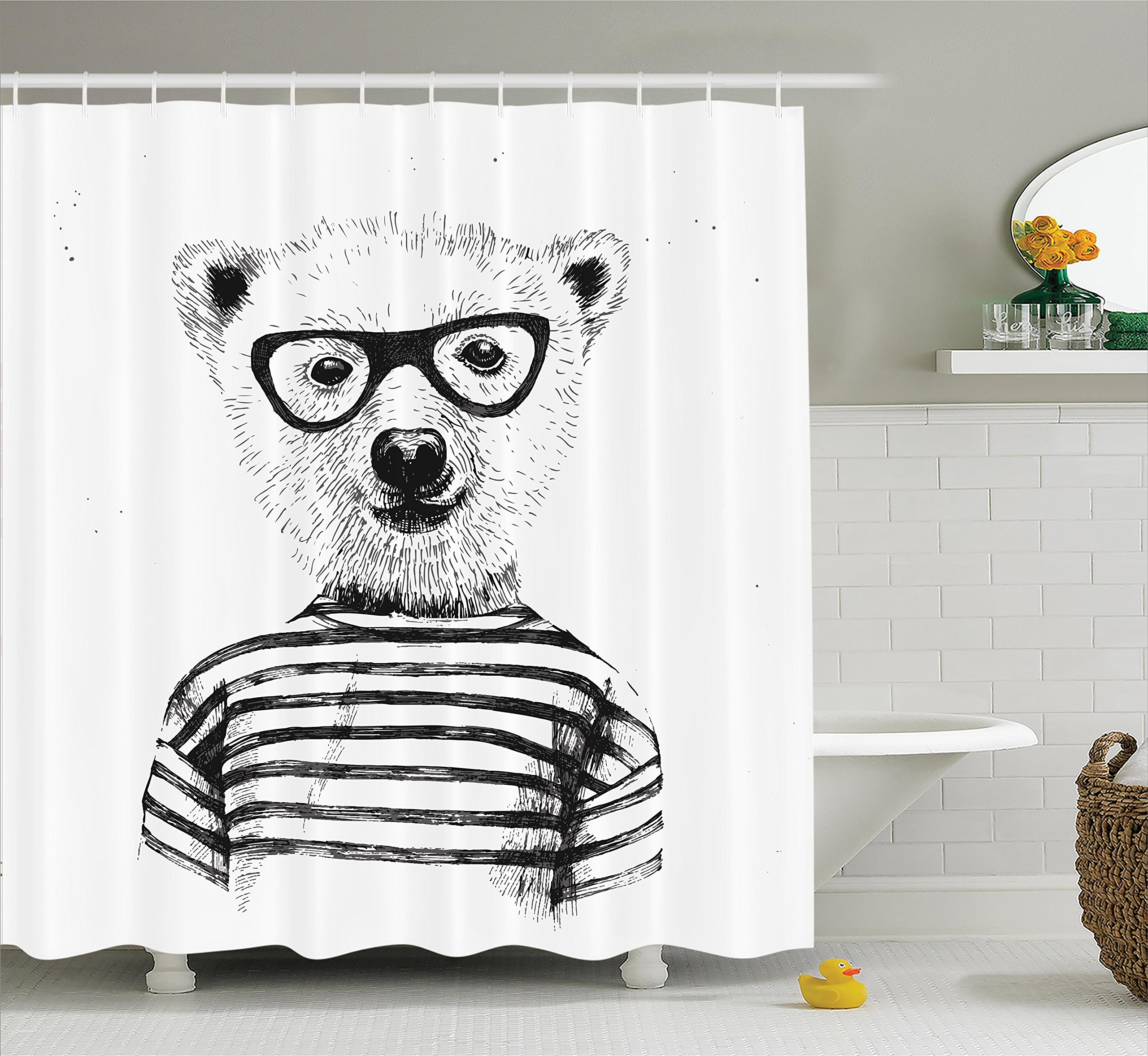 Ambesonne Apartment Decor Shower Curtain Set, Dressed up Hipster Nerd Smart Male Bear in Glasses Fun Character Animal Artful Print, Bathroom Accessories, 75 inches Long, Black White
