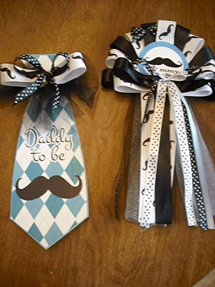 Baby Shower Mustache Mommy Corsage And Daddy Tie