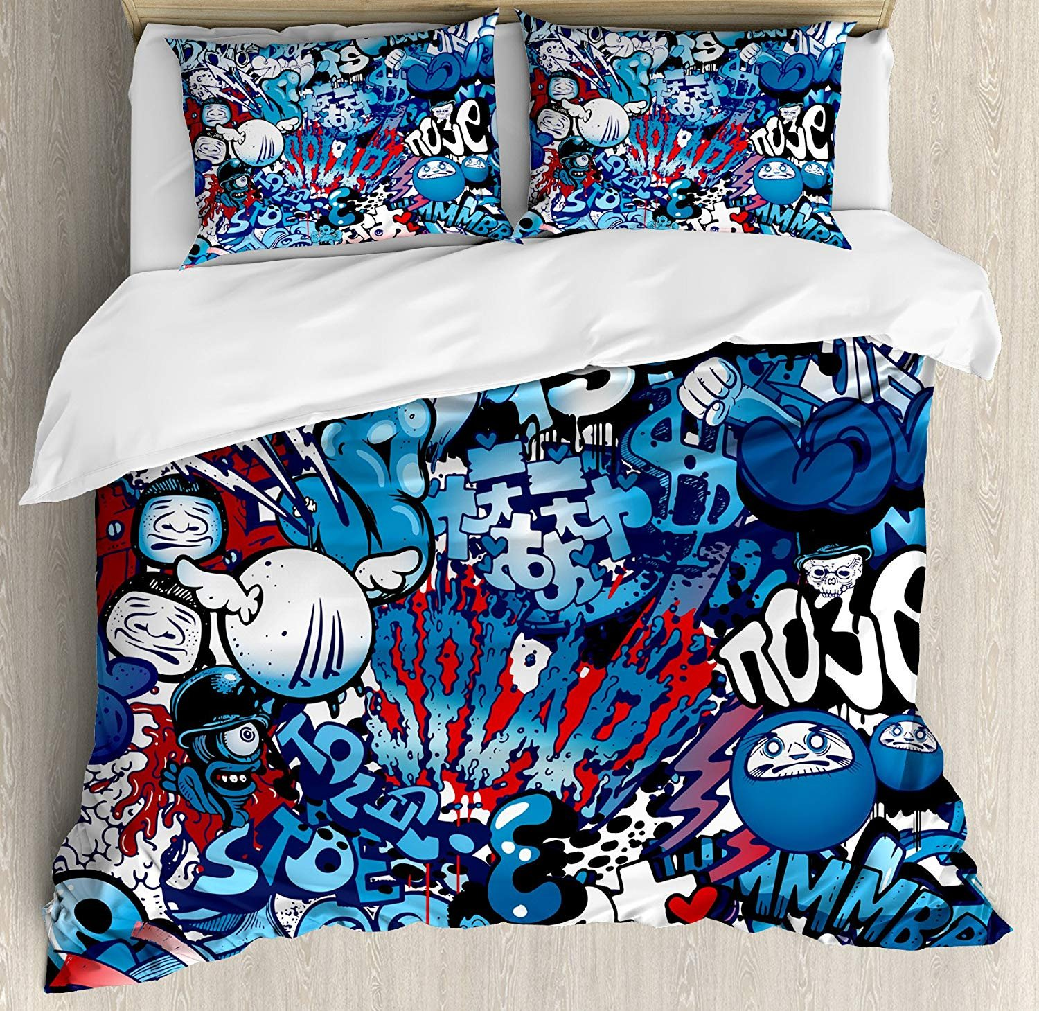 IDOWMAT Modern Twin Duvet Cover Sets 4 Piece Bedding Set Bedspread with 2 Pillow Sham, Flat Sheet for Adult/Kids/Teens, Teenager Style Image Street Wall Graffiti Graphic Colorful Design Artwork Print
