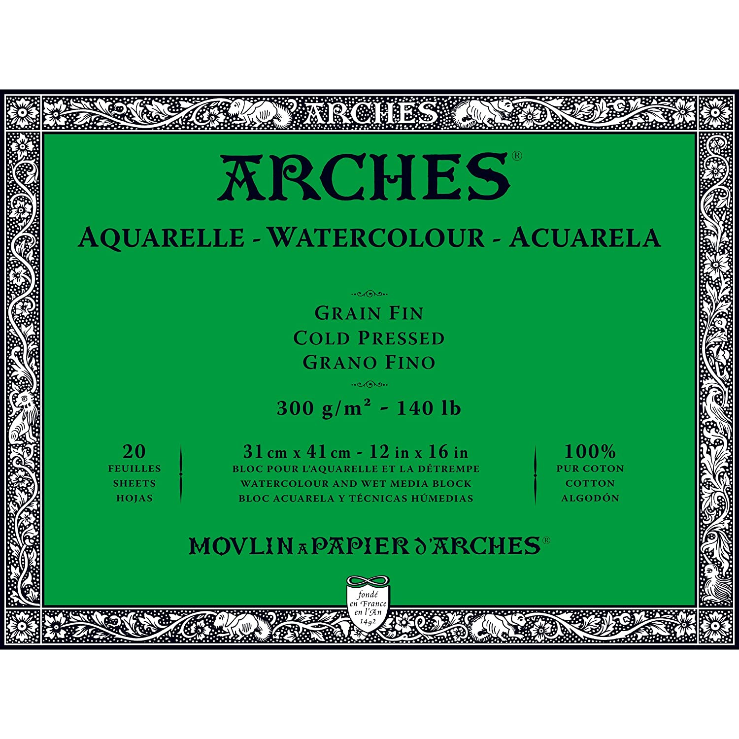 Arches Water Colour Block, 140lb / 300GSM, Cold Pressed, 9 x 12 9 x 12 Winsor Newton 1795060