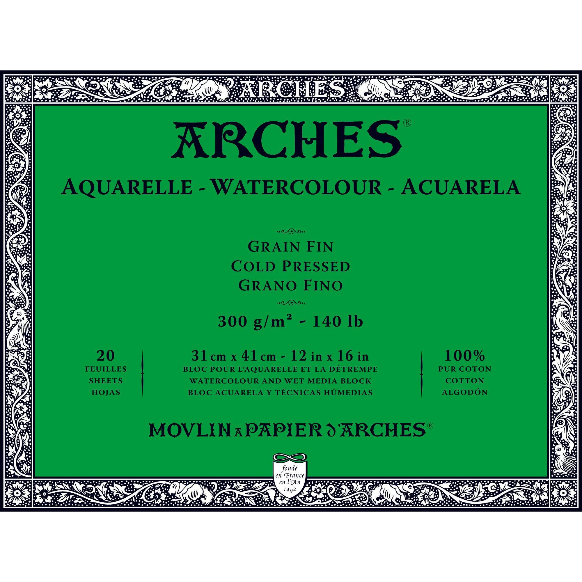 Arches Watercolor Paper Block, Cold Press, 12'' x 16'', 140 pound