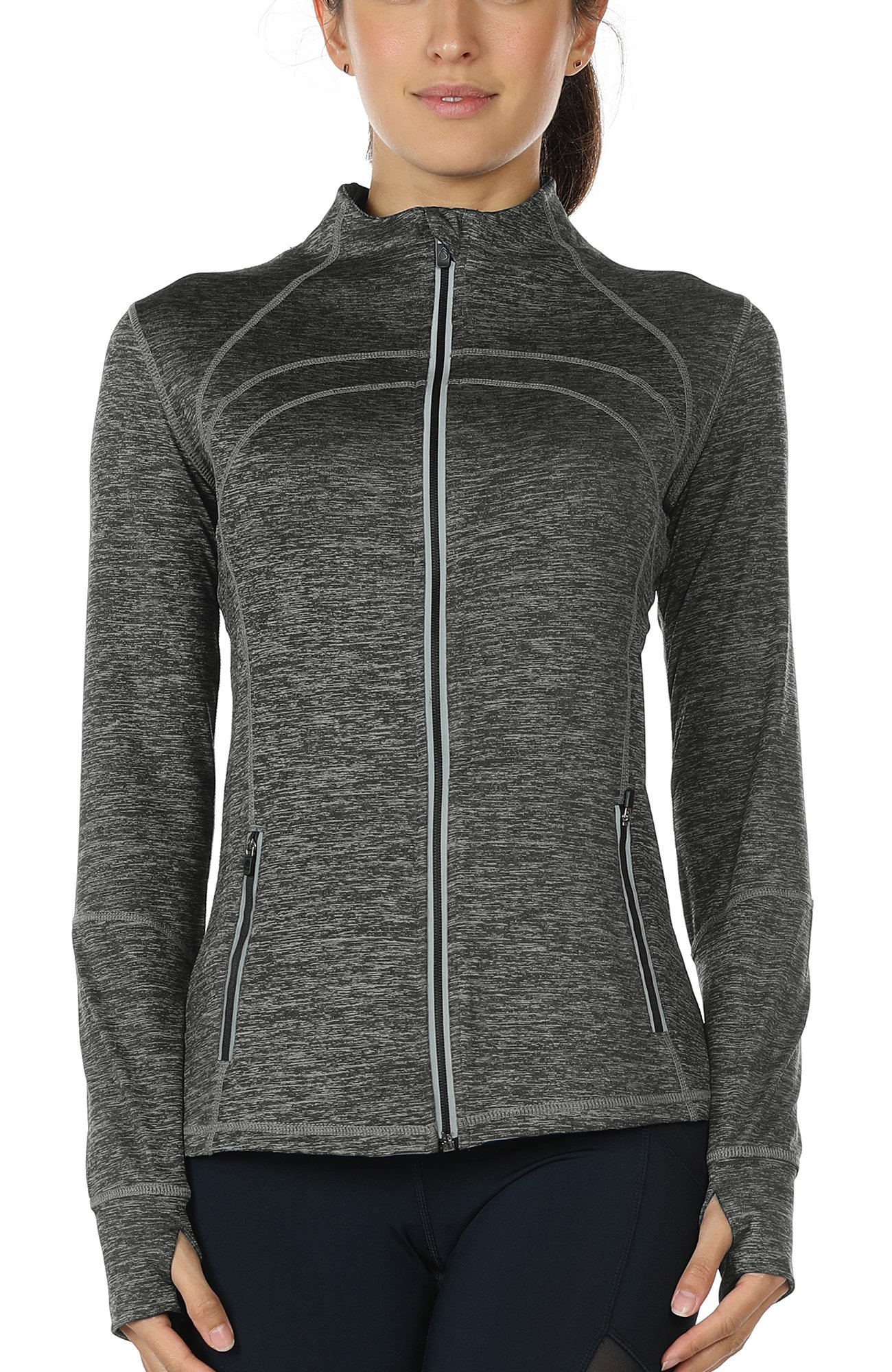 icyzone Women's Running Shirt Full Zip Workout Track Jacket with Thumb Holes (L, Charcoal)