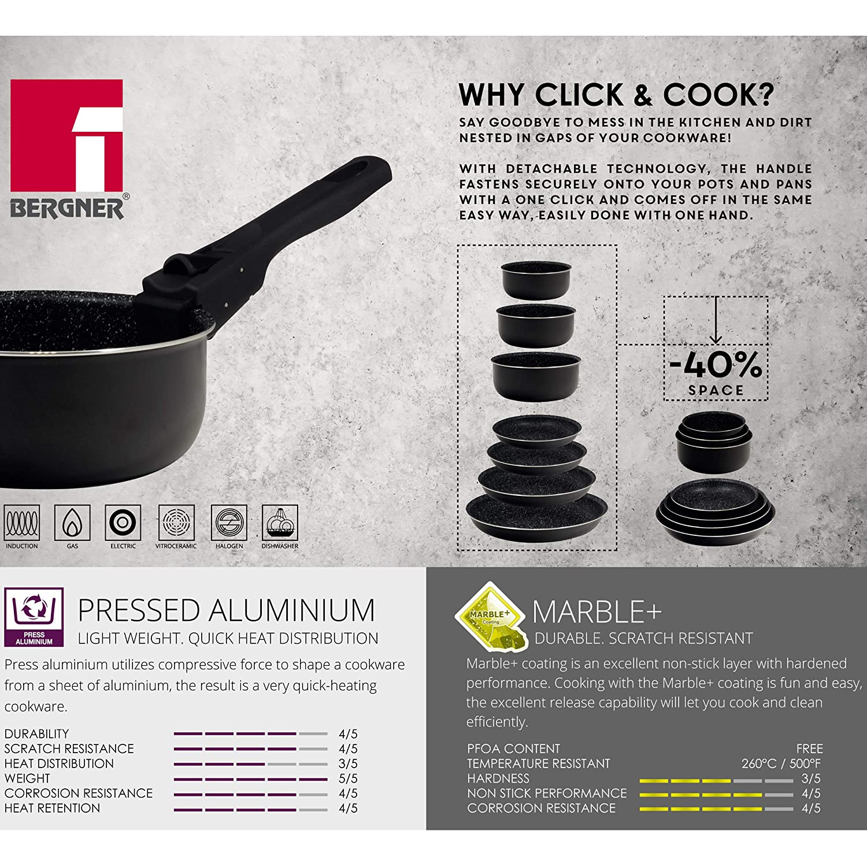 26 cm Bergner Q3170 Pfannen-Set aus gepresstem Aluminium 20 induktionsgeeignet Schwarz mit Griff Click /& Cook 22