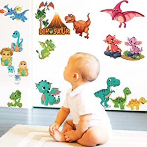 Dinosaur and Dragon Wall Stickers for Kids - Peel and Stick Wall Decals for Bedroom Living Room | Decorative Art Décor | Jurassic World Dinosaurs Removable Reusable Repositionable and Non-Residue