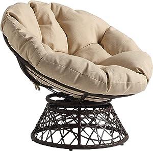 OSP Home Furnishings Wicker Papasan Chair with 360-Degree Swivel, Brown Frame with Cream Cushion