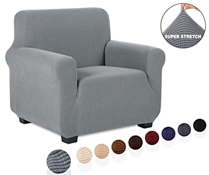 TIANSHU Funda de sillón,Material Jacquard poliéster y Elastano Fundas de sofá Suaves Resistentes(Funda de sillón,Gris Claro)