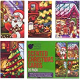 Scented Christmas Cards Value Pack - Scratch and Sniff Holiday greeting cards! 20 cards (4 designs/smells x 5 of each) + envelopes. Scents: Christmas tree, Santa's cookies, Gingerbread & Candy Cane