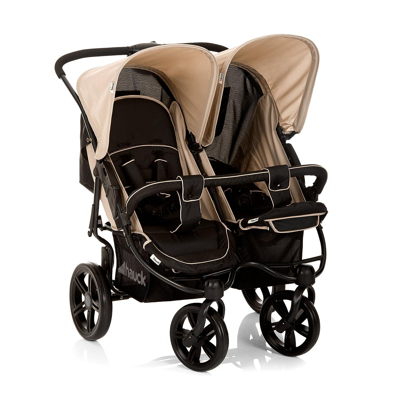 Silla gemelar para gemelos y hermanos de 0 meses hasta 15 kg Multicolor Caviar//Almond Hauck Roadster Duo SLX con barrera de seguridad