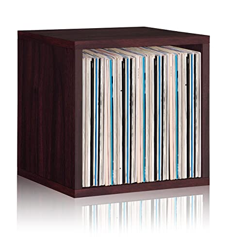 Vinyl Record Storage Cube Extra Large Stackable LP Record Album Shelf,  Espresso
