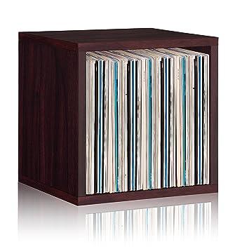 Vinyl Record Storage Cube Extra Large Stackable LP Record Album Shelf,  Espresso   LIFETIME GUARANTEE