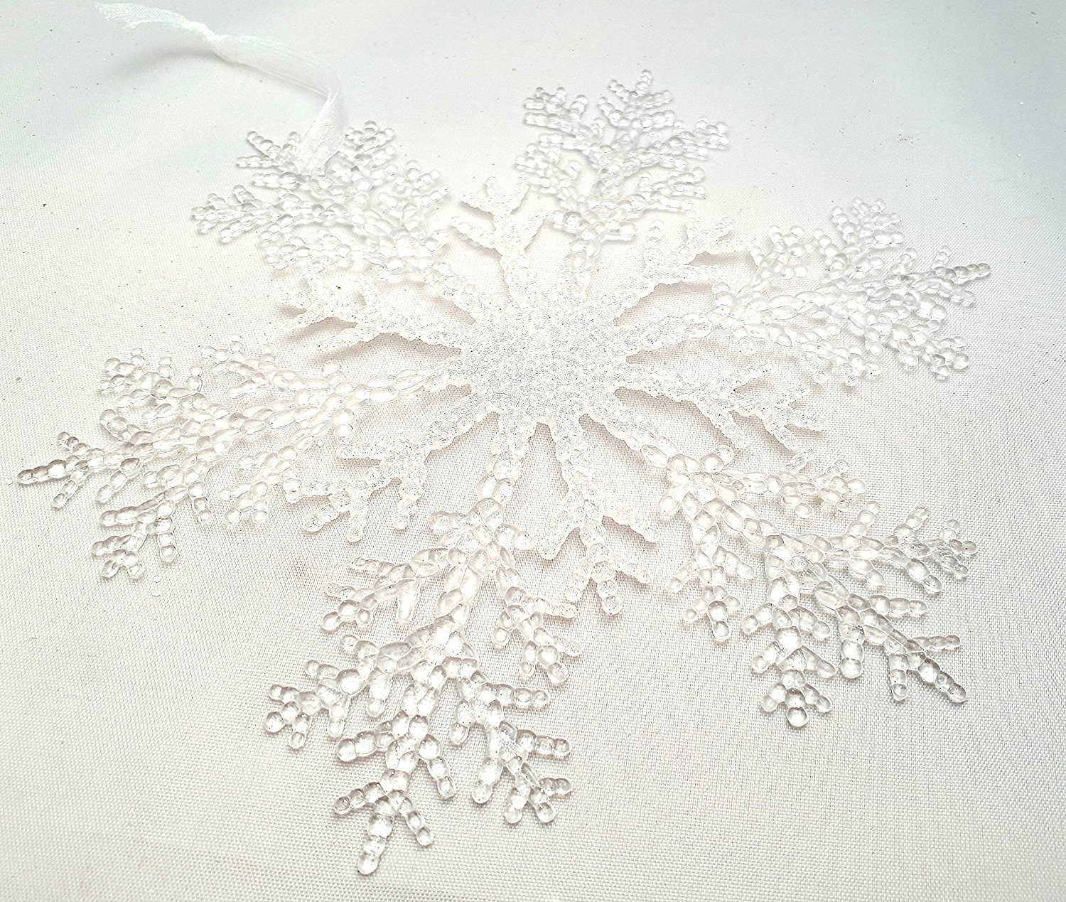 4 Pc Snow Flake 7.87'' Decorative Hanging Ornaments Indoor Xmas Christmas Tree Décor Party Home Winter