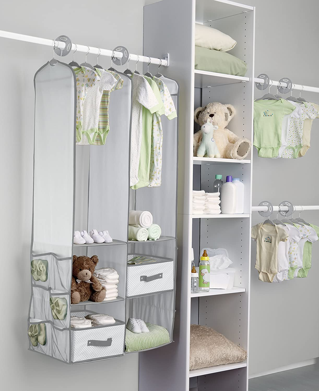Perfect Amazon.com : Delta Children Nursery Closet Organizer, Dove Grey, 24 Count :  Baby